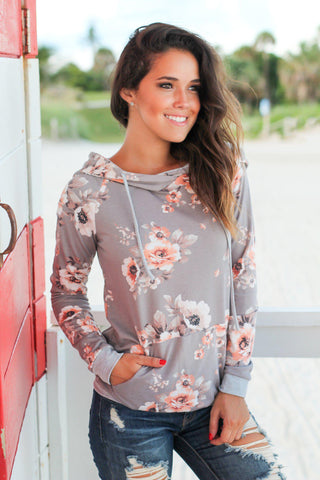 Gray and Peach Floral Hoodie