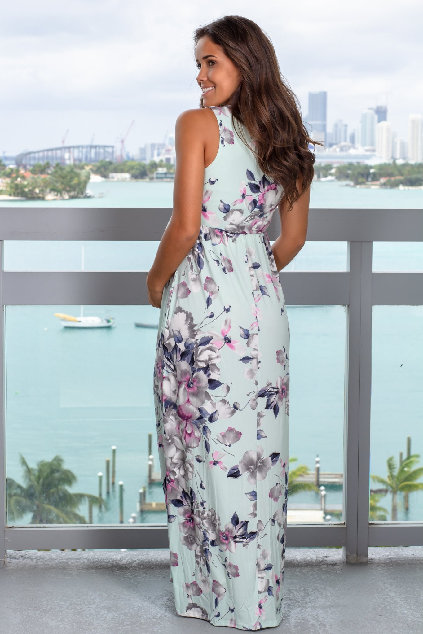Dusty Mint Floral Racerback Maxi Dress With Pockets Saved By The Dress Saved By The Dress