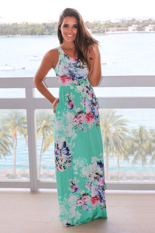 Mint and Pink Floral Racerback Maxi Dress