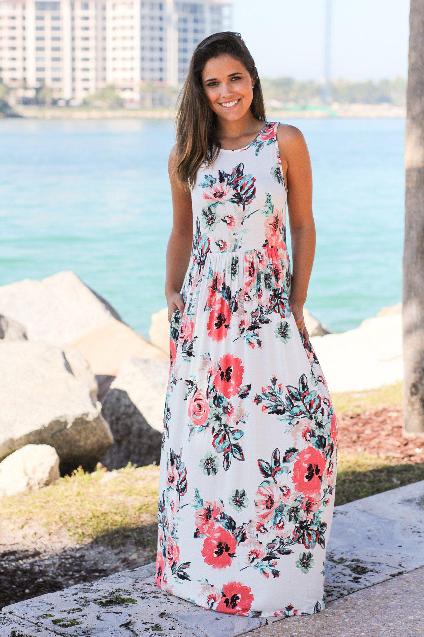 3754f1576e Off White Floral Maxi Dress with Pockets | Maxi Dresses – Saved by ...