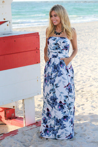Ivory and Blue Floral Strapless Maxi Dress
