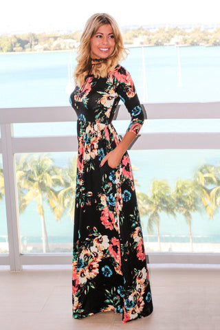 Black Floral Maxi Dress with 3/4 Sleeves
