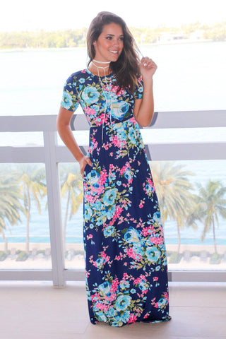 Navy Floral Maxi Dress with Short Sleeves
