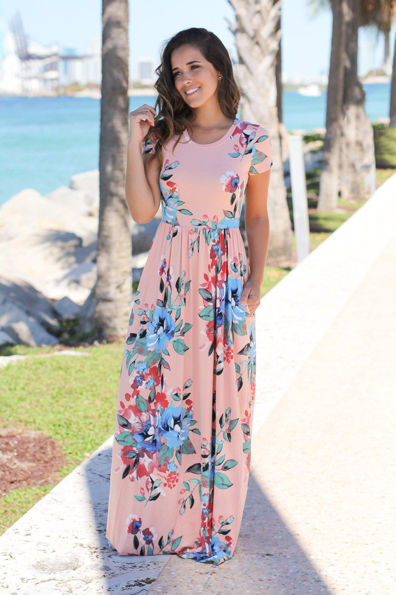 b8b01156a Floral Maxi Dress; Long Dresses; Blush and Blue Floral Maxi Dress with Short  Sleeves ...