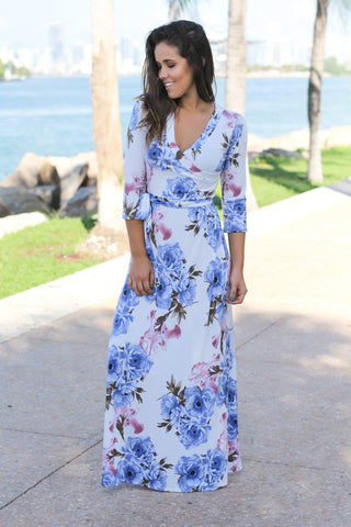Ivory and Blue Floral Wrap Maxi Dress