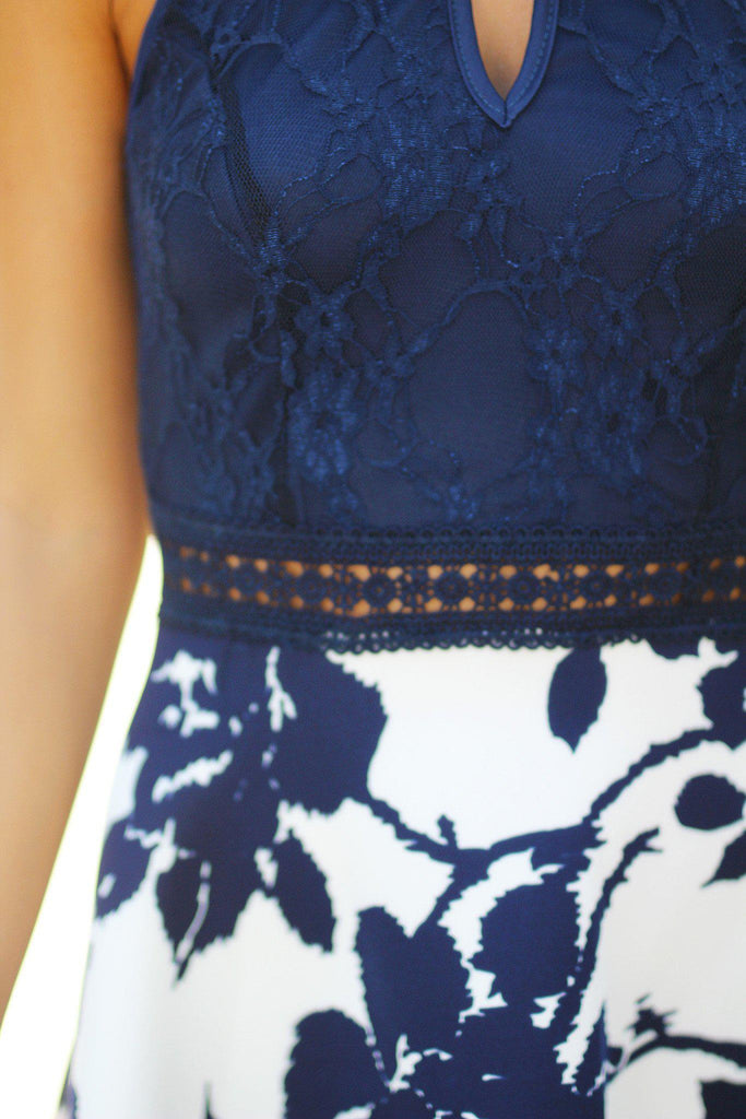 Navy Floral Short Dress with Lace Top