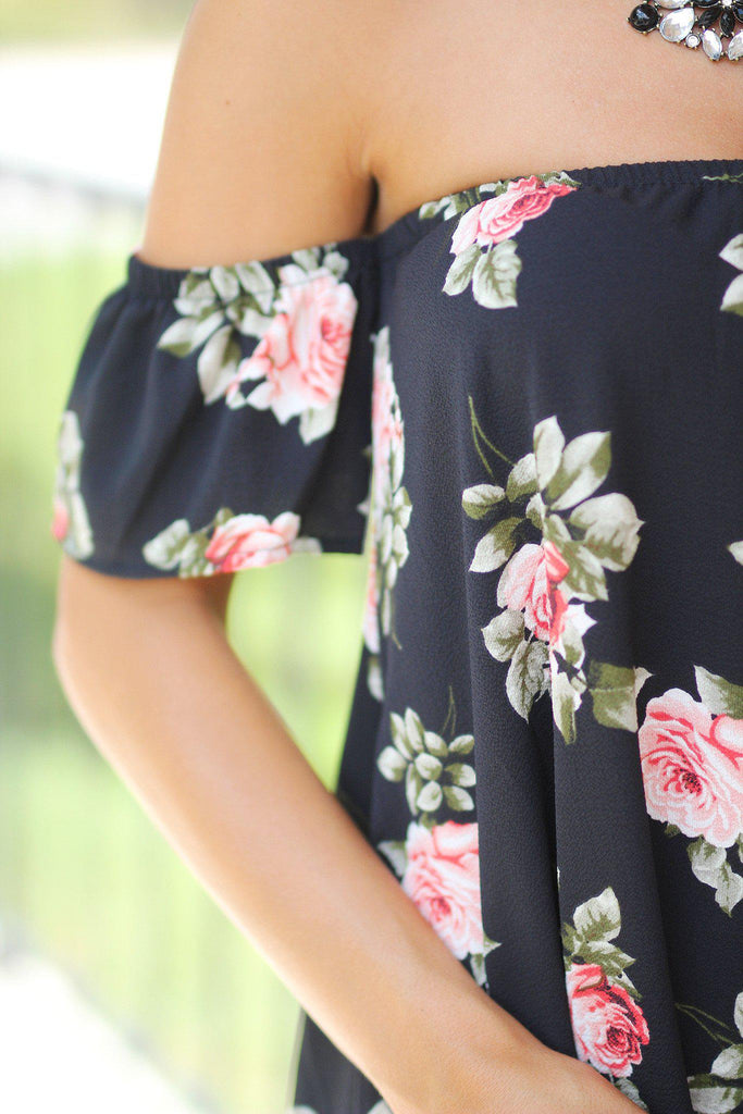 Black Floral Off Shoulder Short Dress