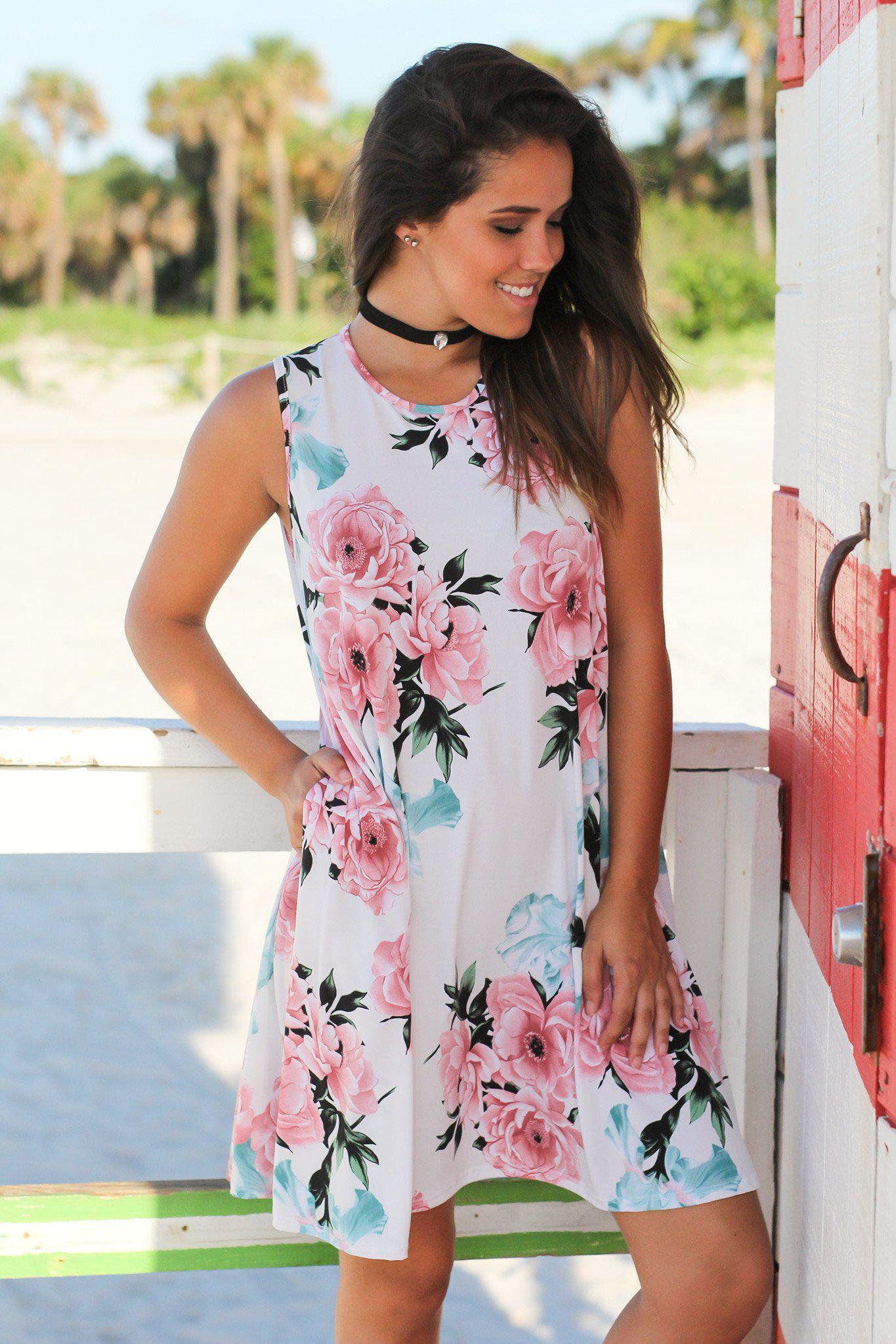 Ivory And Pink Floral Short Dress Short Dresses Saved By The Dress