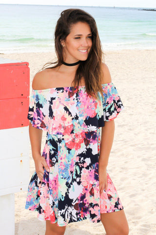 Neon Floral Off Shoulder Short Dress