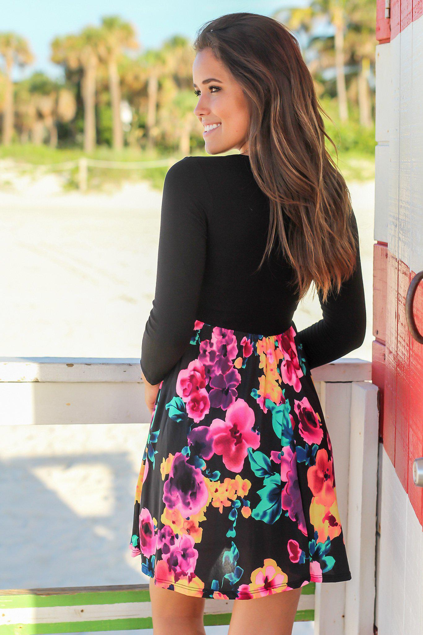 Floral Short Dress with Black Top and 3/4 Sleeves