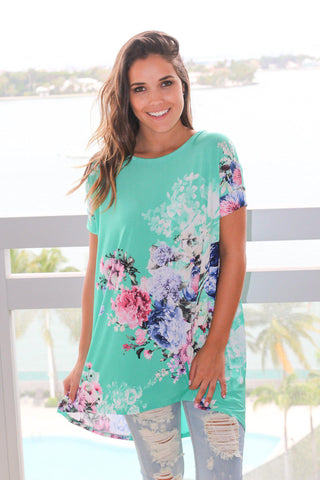 Mint Floral Top with Criss Cross Back