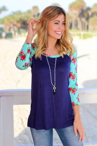 Navy Top with Mint Floral Sleeves