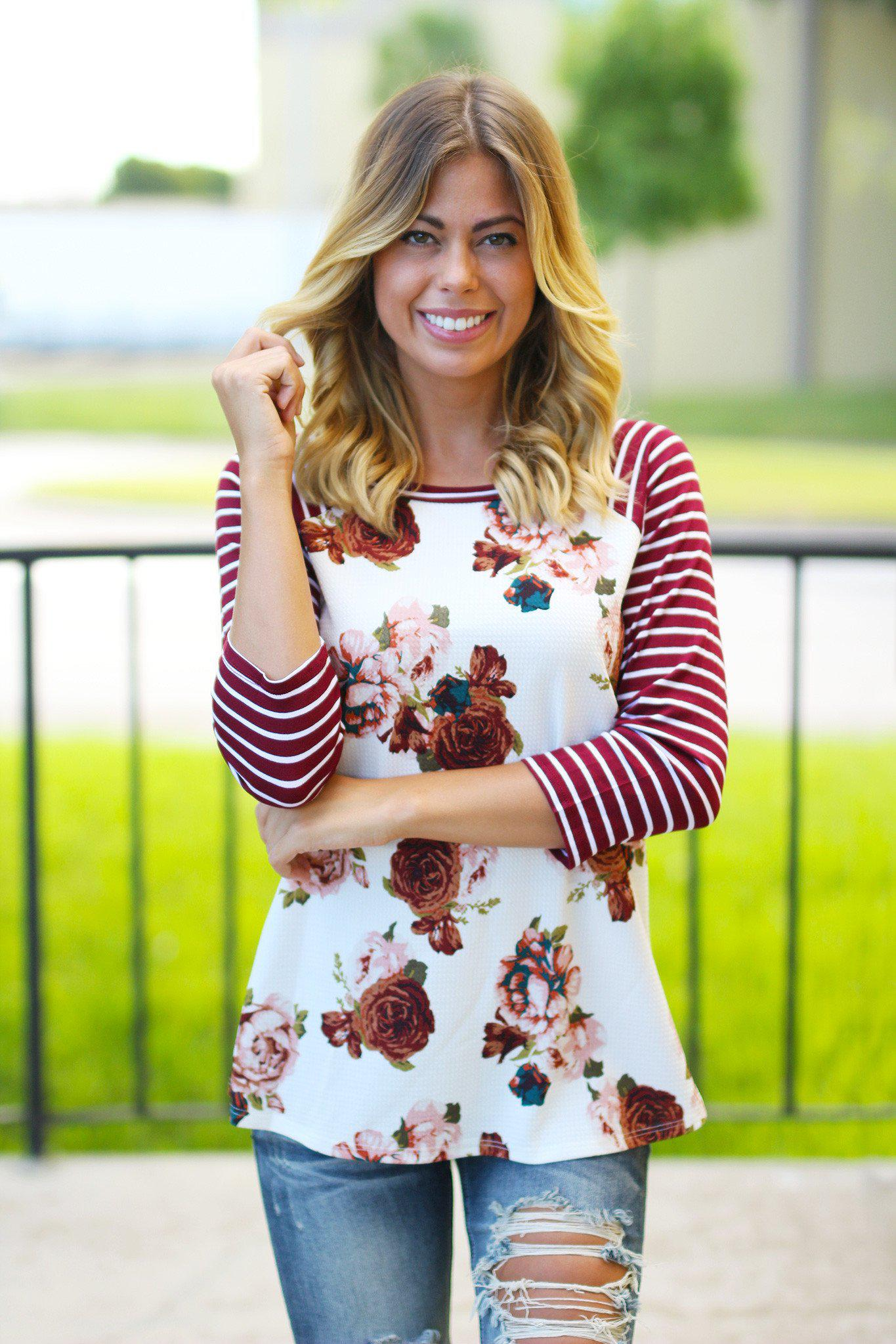 Burgundy Floral Top with 3/4 Sleeves