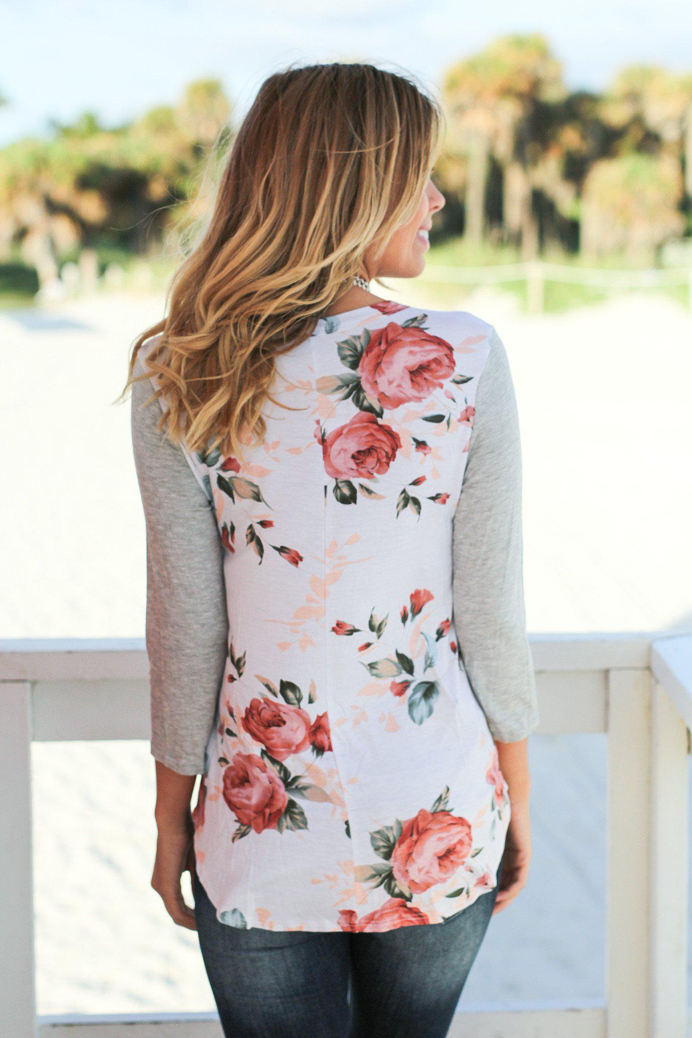 Floral Top with Gray Sleeves