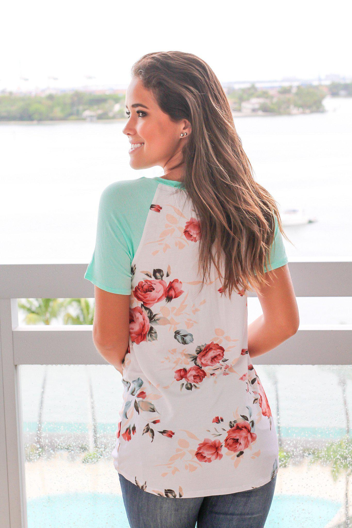 Floral Top with Mint Short Sleeves