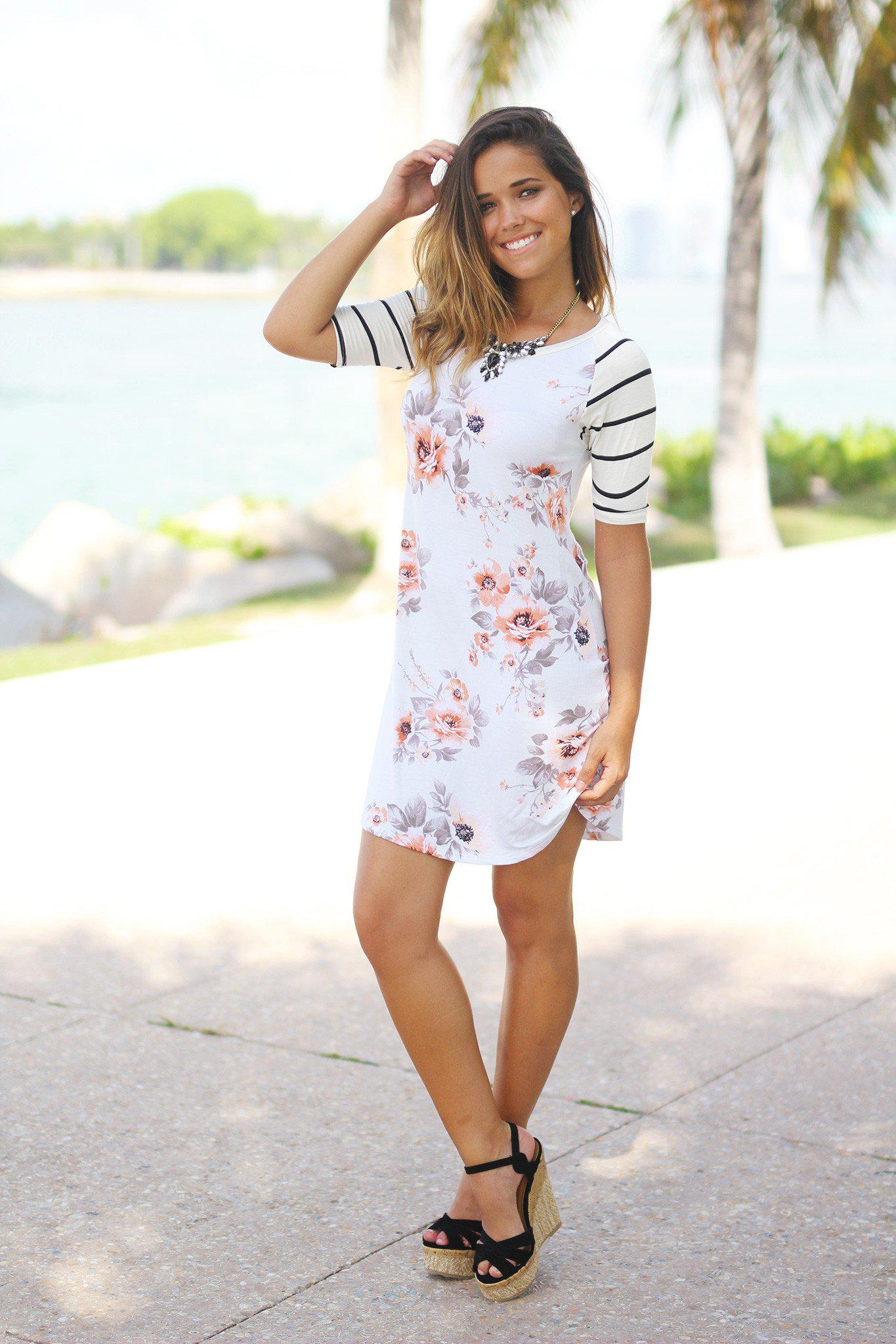 Floral Tunic Dress with Striped Sleeves