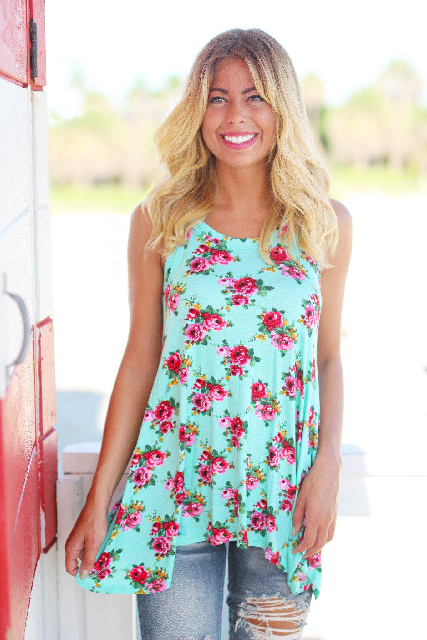 Mint Floral Tunic Top