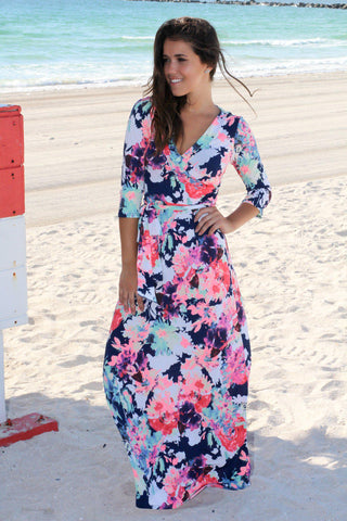 Neon Floral Wrap Maxi Dress with 3/4 Sleeves
