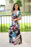 navy floral long dress