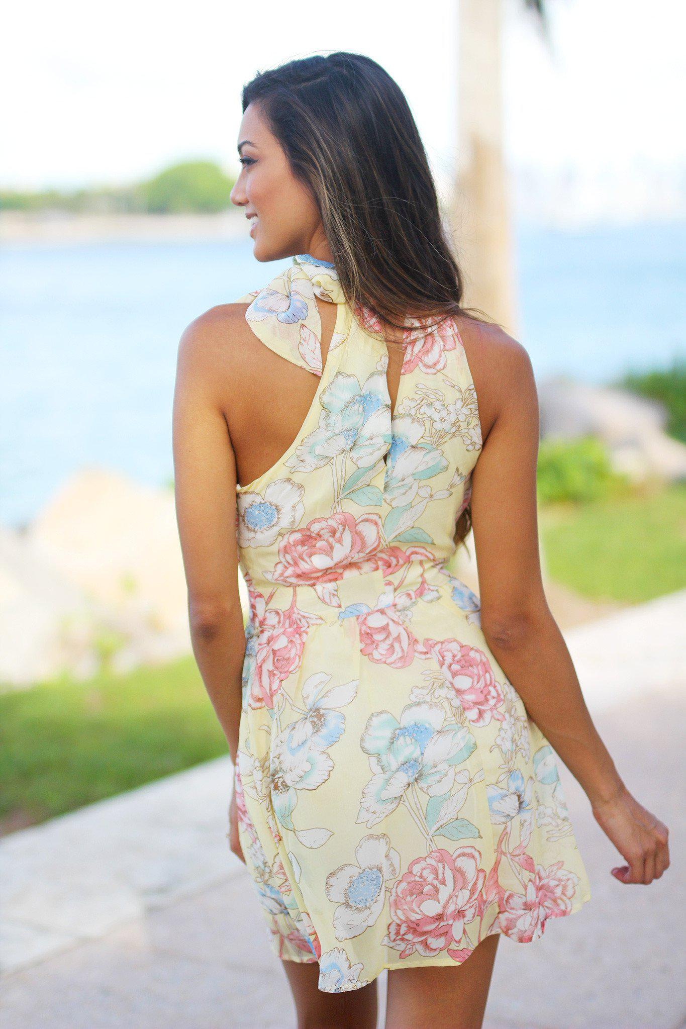 Yellow Floral Short Dress