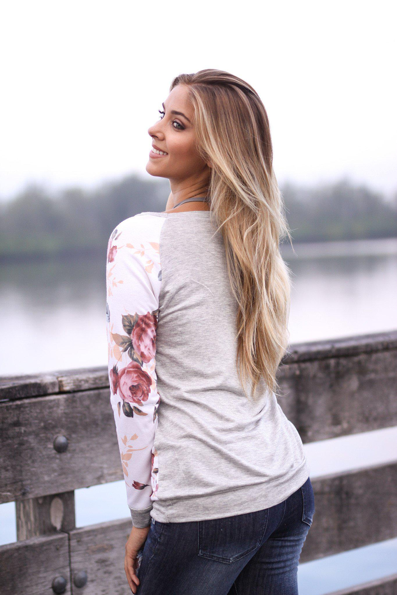 Floral and Gray Long Sleeve Top