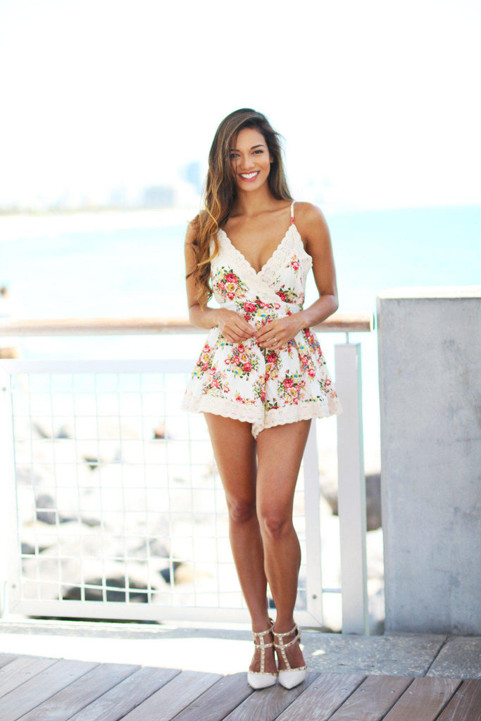 floral romper with lace trim