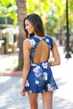 floral open back romper