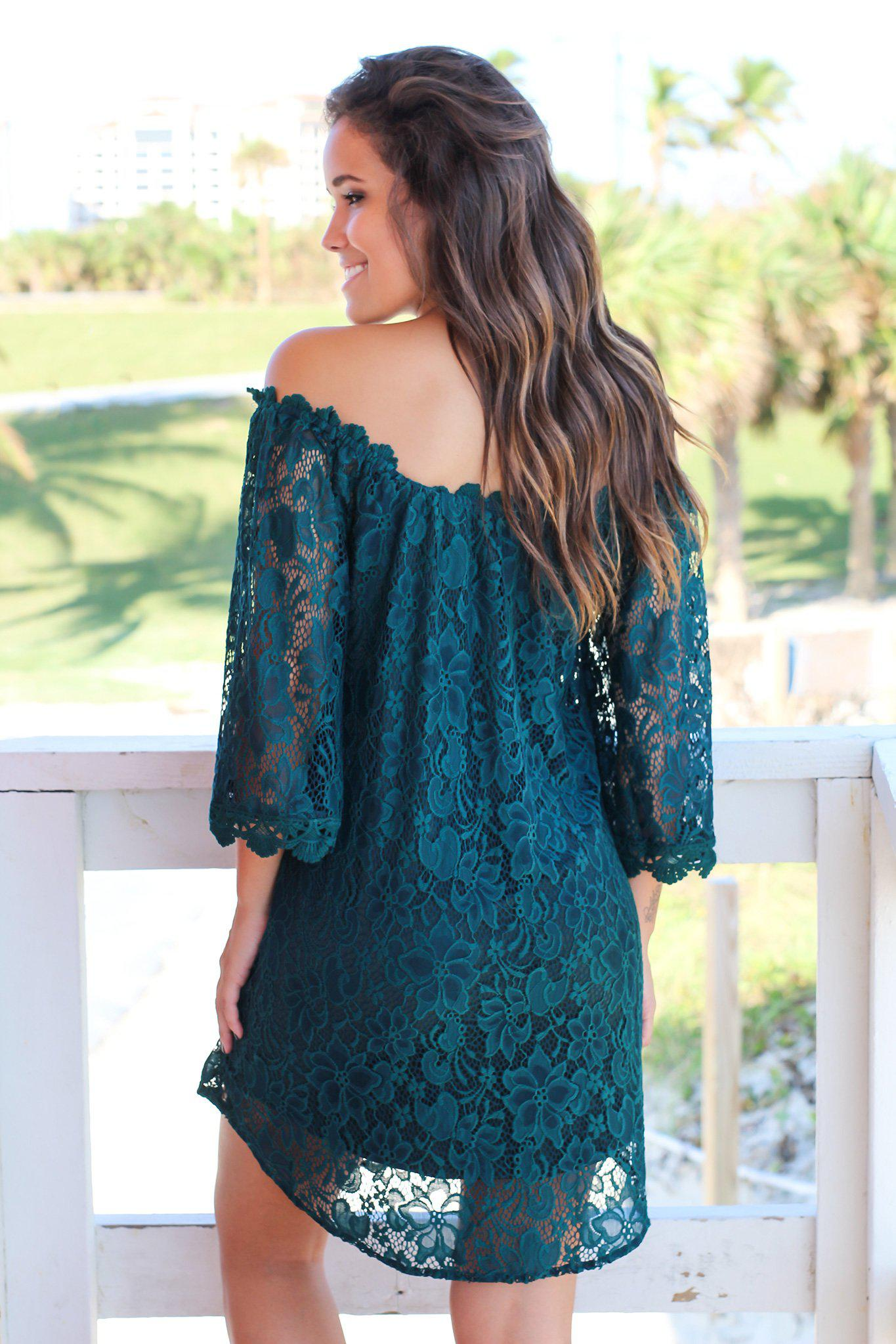 Forest Green Lace Off Shoulder Short Dress