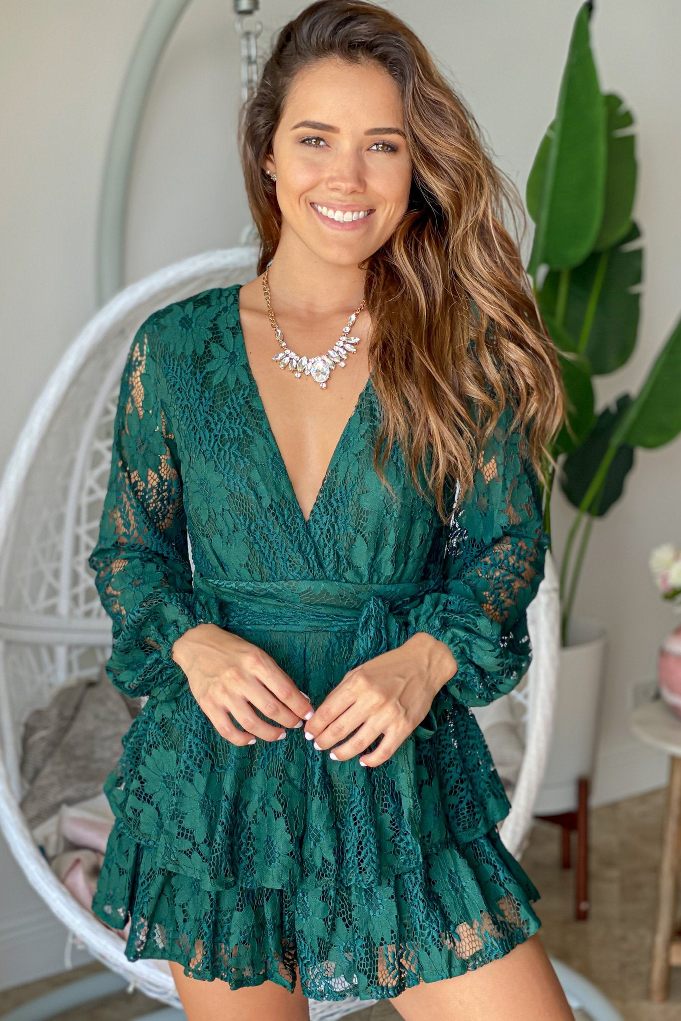 Forest Green Lace Romper