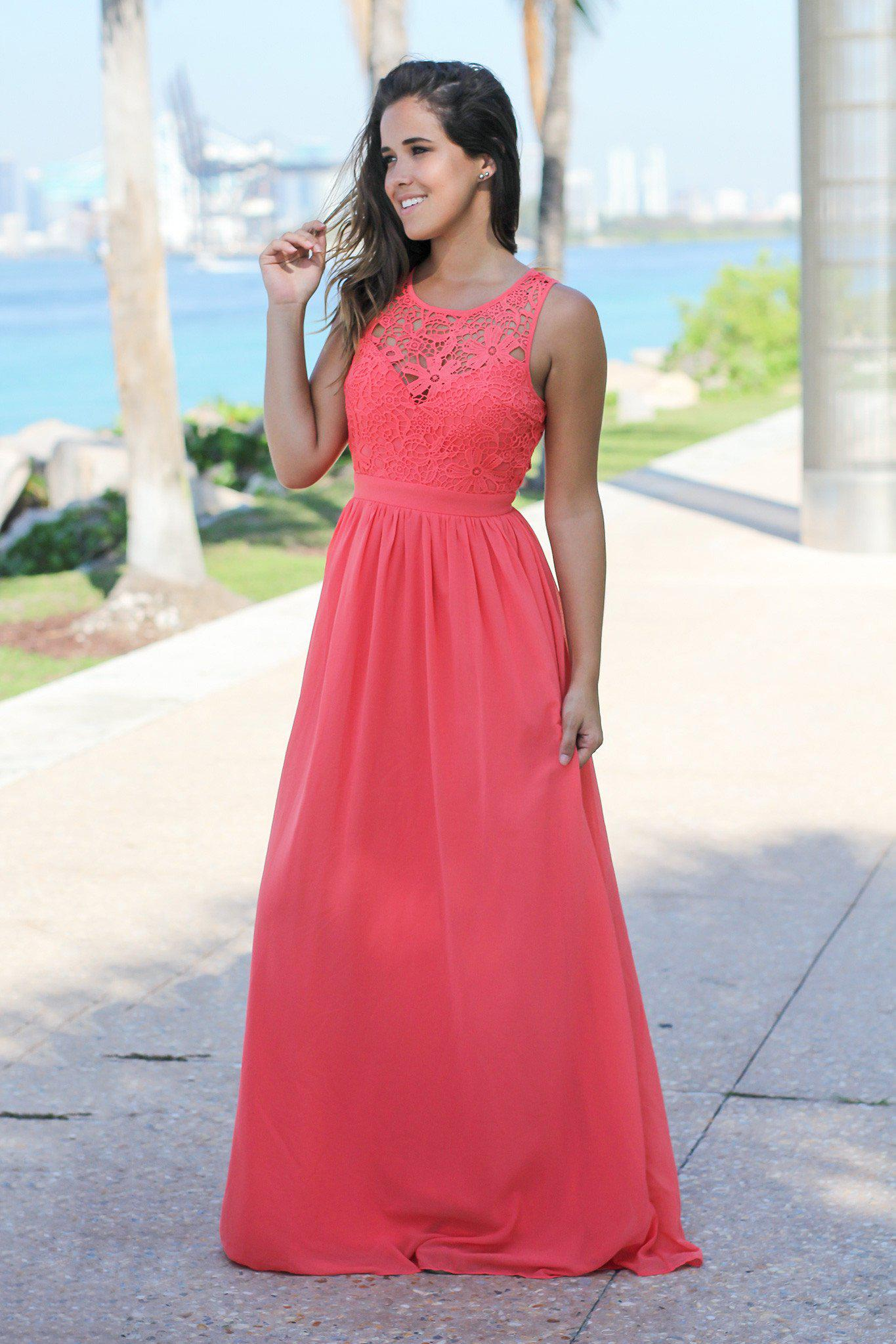 Coral maxi style dress