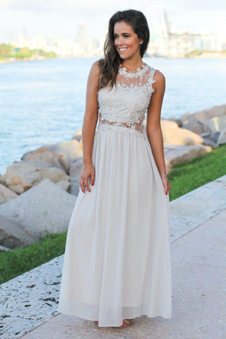 Gray Lace Top Maxi Dress