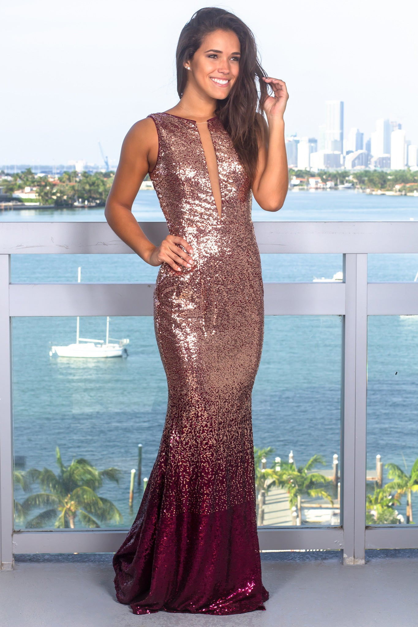 f889843014 Rose Gold and Burgundy Sequin Maxi Dress