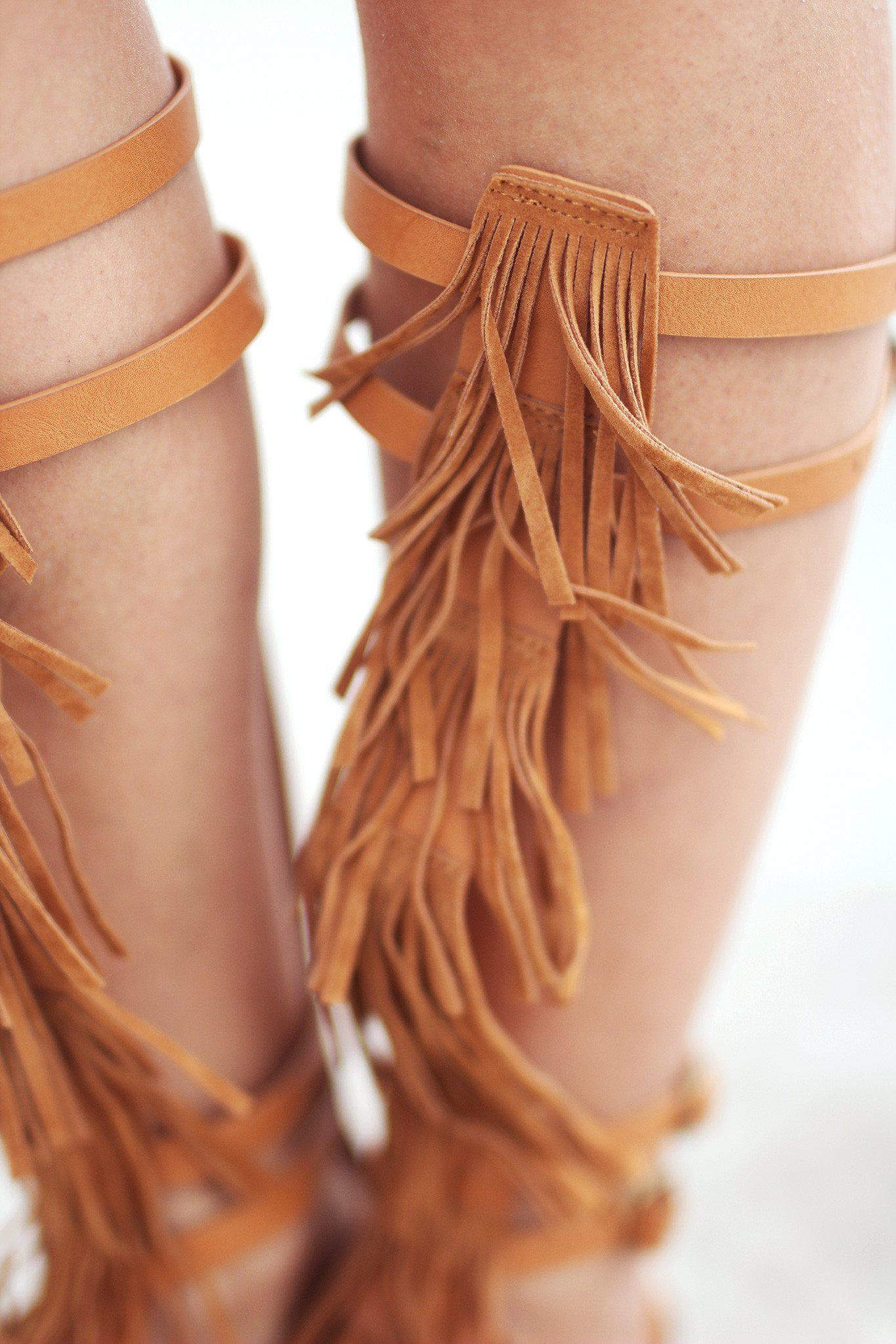 Fringe Camel Gladiator Shoes