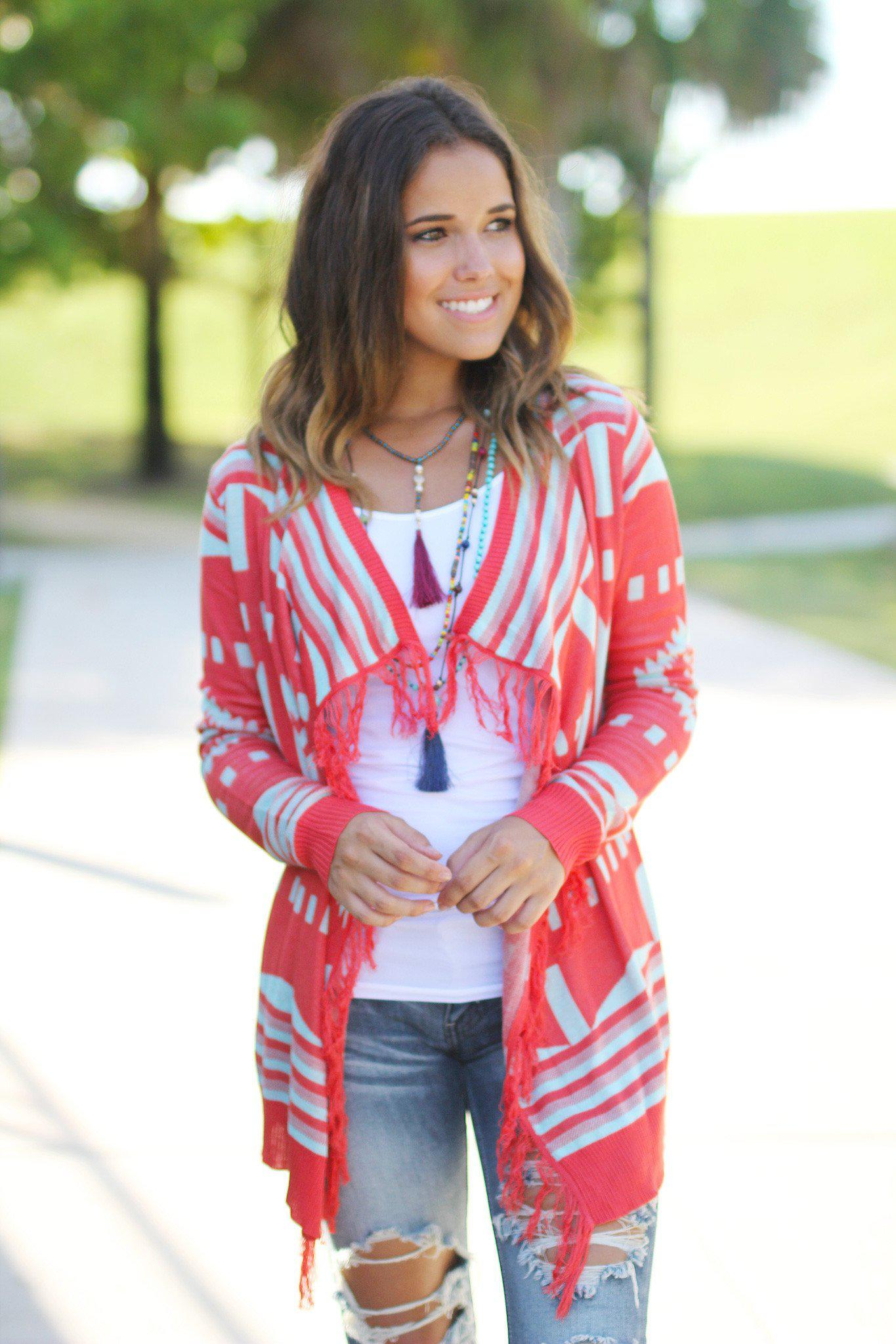 Coral and Mint Fringe Cardigan
