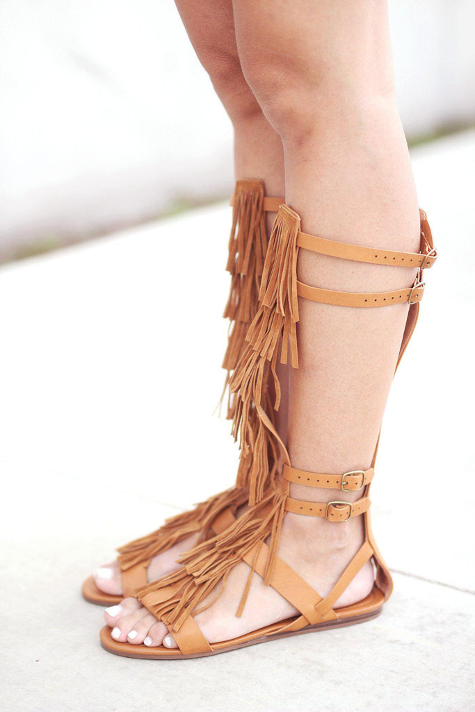 fringe came gladiator sandals