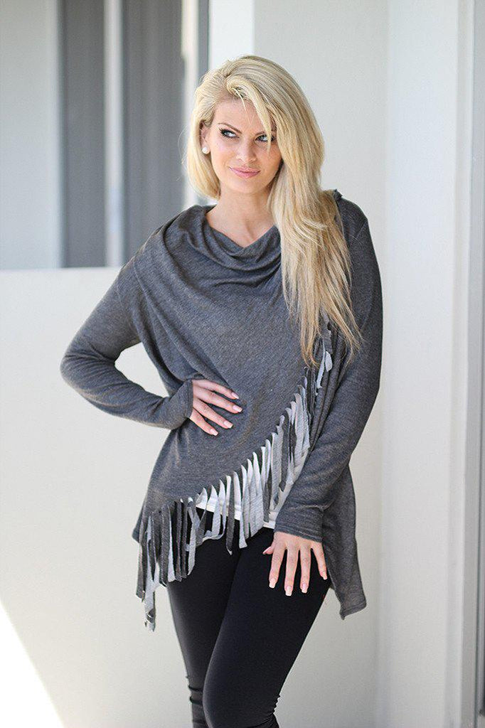 long sleeve charcoal top
