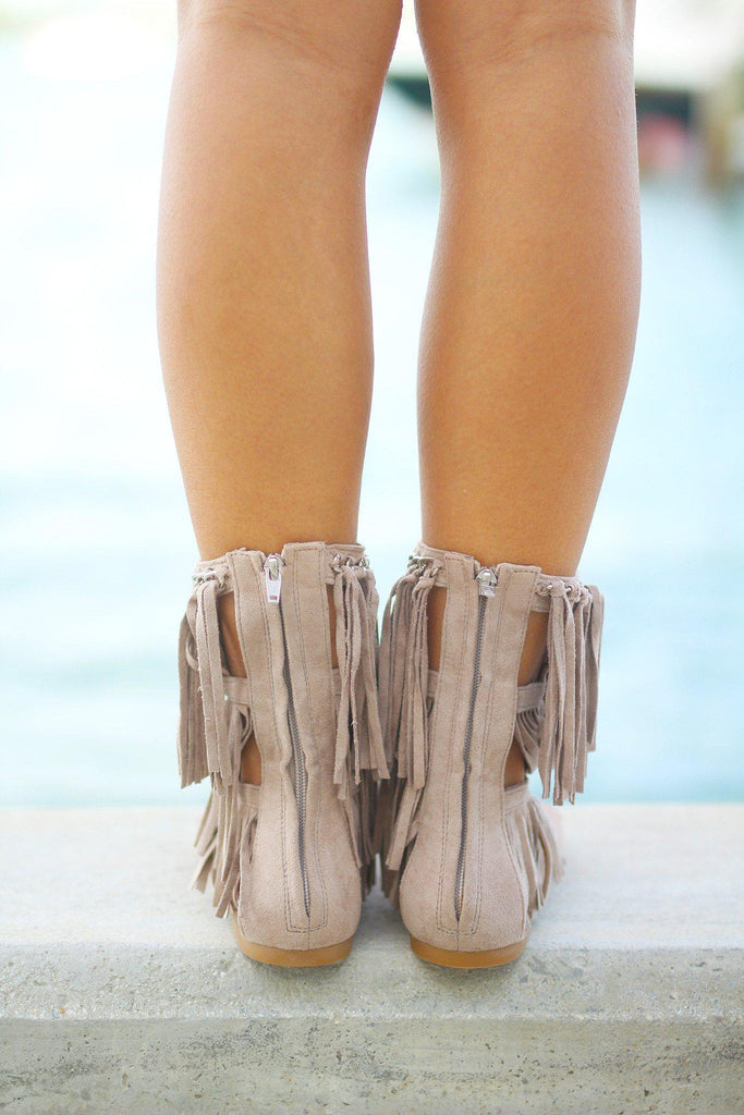 taupe sandals with zipper