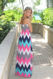 Fuchsia And Teal Chevron Maxi Dress