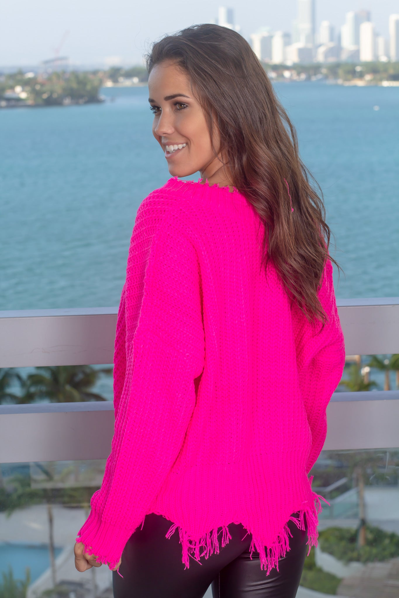 Fuchsia Frayed Sweater
