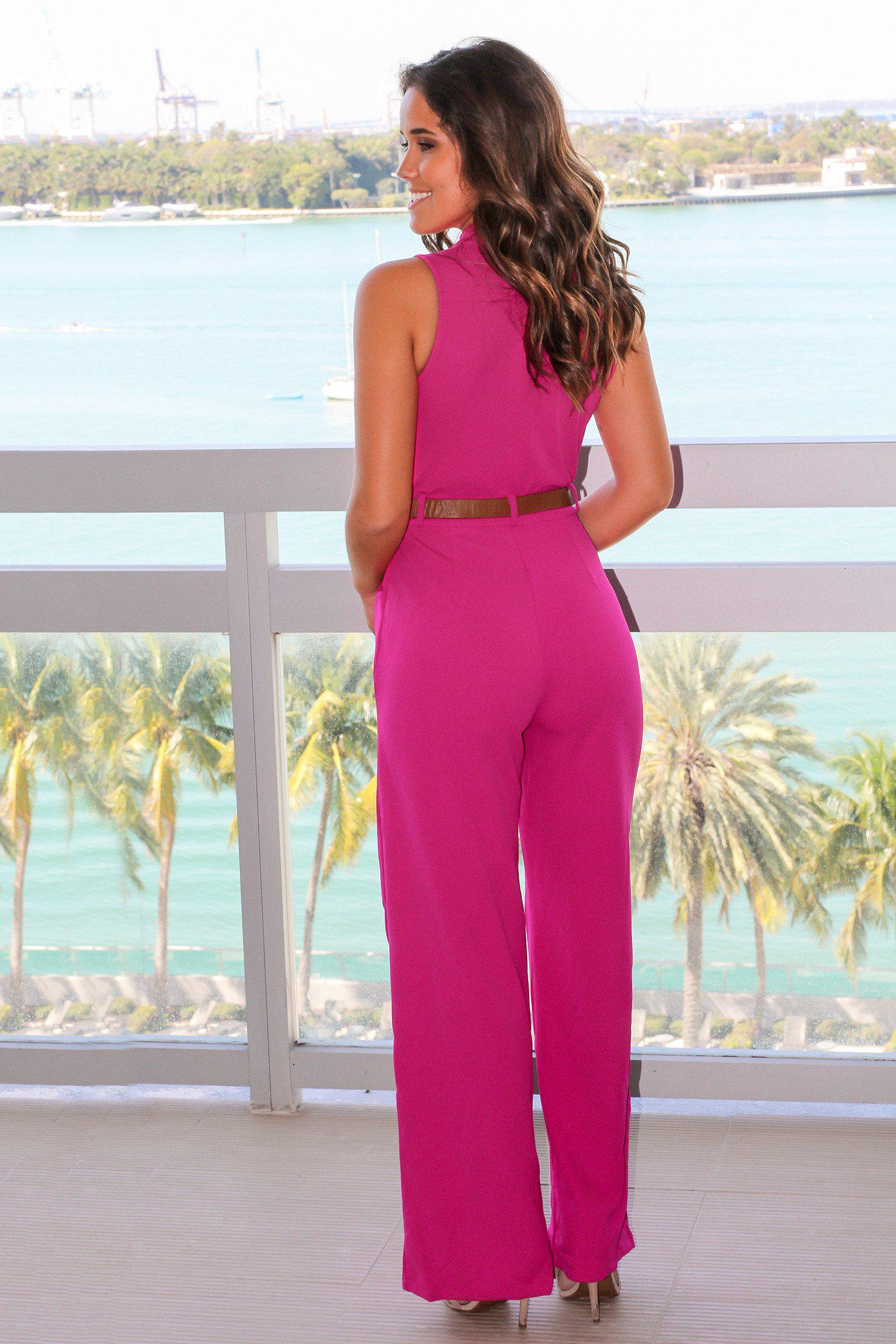 Fuchsia Jumpsuit with Belt