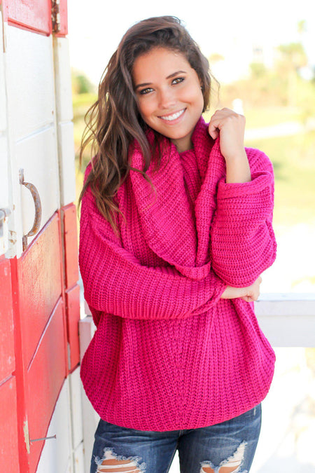 Fuchsia Knit Oversized Sweater