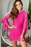 Fuchsia Lace Short Dress with Bell Sleeves