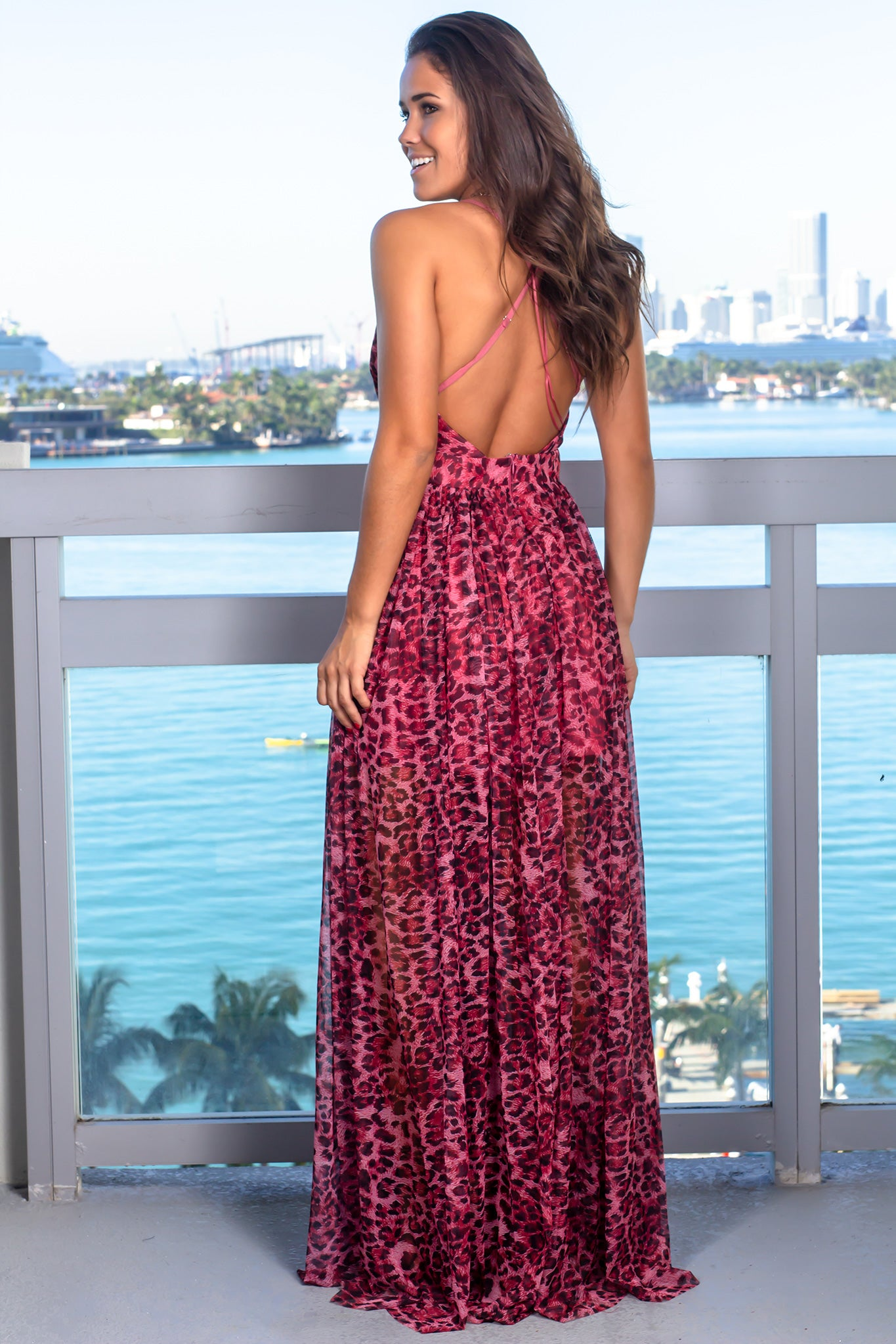 Fuchsia Leopard Print Maxi Dress