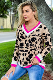 Fuchsia Leopard Printed Oversized Sweater