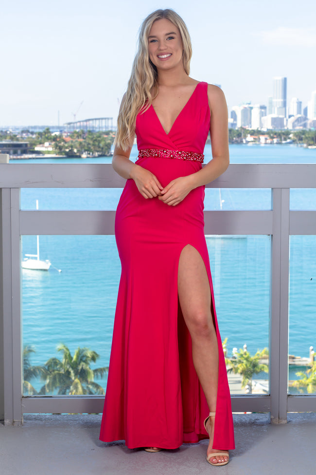 Fuchsia Maxi Dress with Side Slit