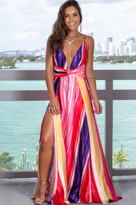 Fuchsia Multi Colored Maxi Dress with Slits