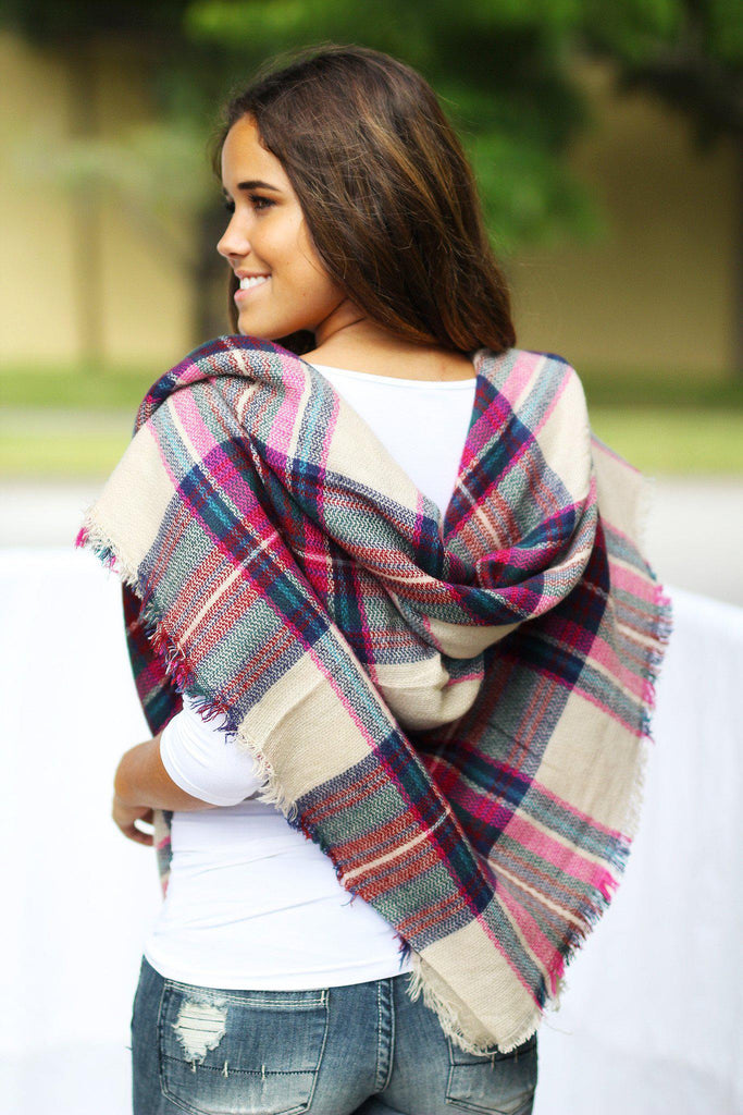 Fuchsia Plaid Blanket Scarf