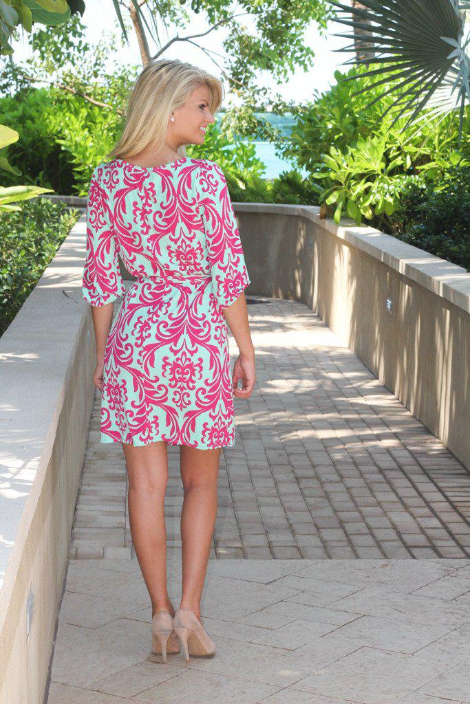 Mint and Fuchsia Short Dress