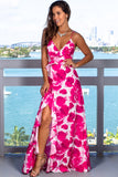 Fuchsia Printed Maxi Dress with Ruffle Detail