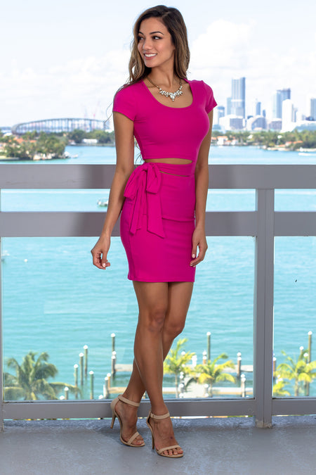 Fuchsia Ribbed Short Dress